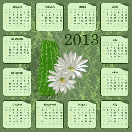 vector wall calendar for 2013 with flowers Vector