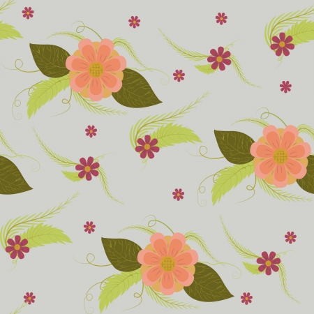 simple vector flower seamless texture on a gray background Stock Vector - 16269187
