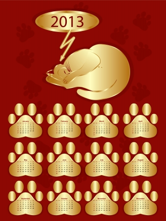 vectorial wall calendar for 2013 a sleeping gold cat on a red background Vector