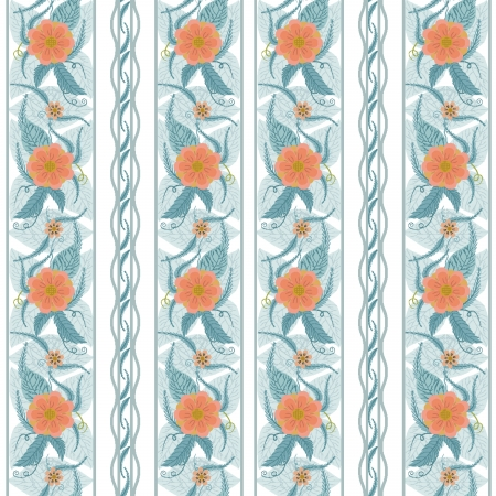 vectorial vertical seamless texture with roses without the use of masks in blue tones Stock Vector - 16480128