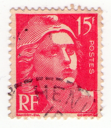 marianne: FRANCE - CIRCA 1970: stamp printed in France shows the symbol of the French Revolution, a woman, circa 1970