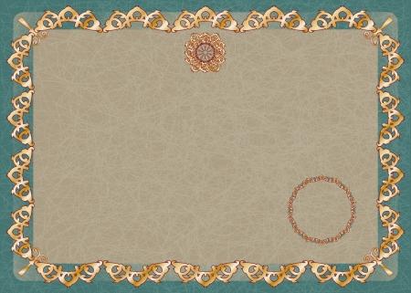 certificado horizontal con adornos de oro y elementos de dise�o