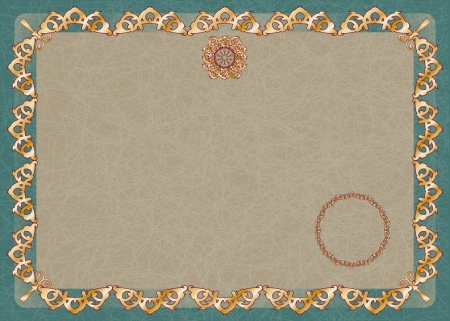 horizontal certificate with gold ornaments and design elements Vector
