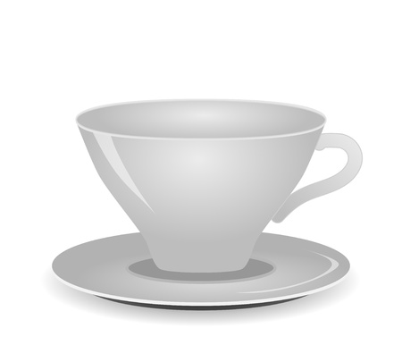 white empty cup and saucer isolated on white vector Stock Vector - 17275774