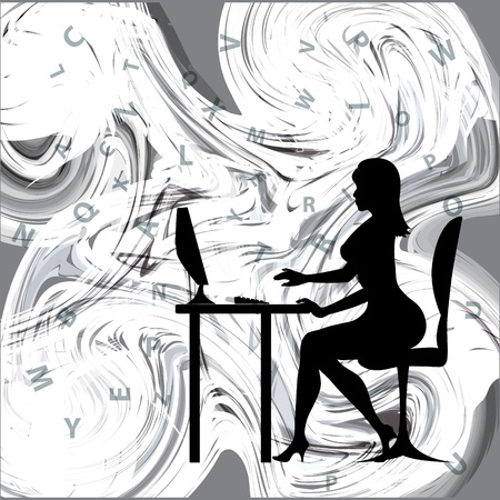 vector background with a silhouette of a girl running on Computer Knowlodge Illustration