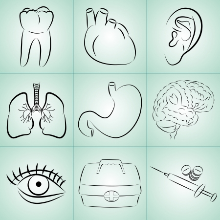 Vector set of nine icons on medical topics Vector