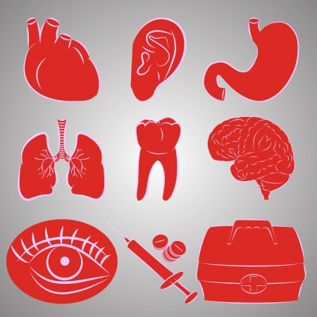 Vector set of nine image on medical topics Vector