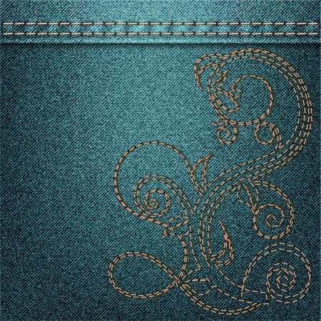 jeans background with embroidery Vector
