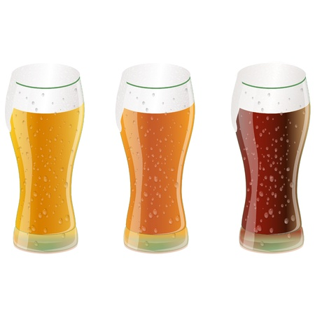 Set of three glasses of beer or other beverage Vector