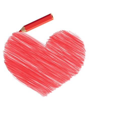 primitive tools: Stylized heart pencil drawing and a pencil
