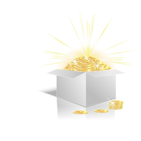 Mail-order box with money Stock Vector - 17585331