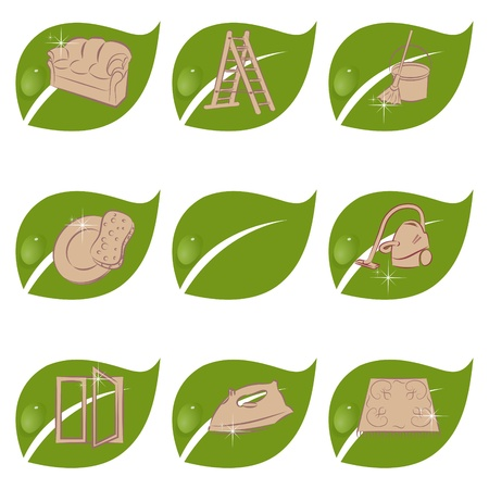 Set of green icons for a cleaning company