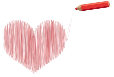 stylized heart pencil drawing with pencil Stock Vector - 17719250