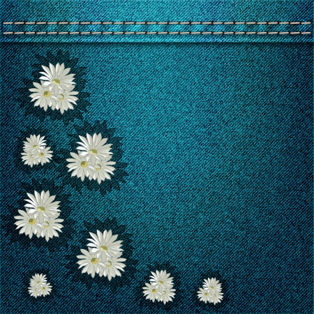 Denim background with flowers  Vector version Vector