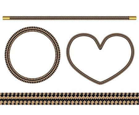 set of four vector elements of rope for design