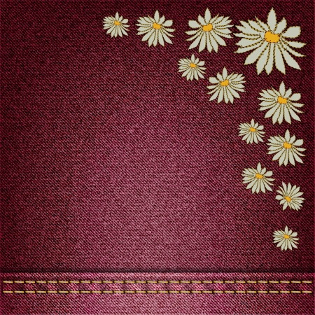 sewn: vector denim background with flowers sewn