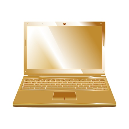 vector golden laptop isolated on white Vector
