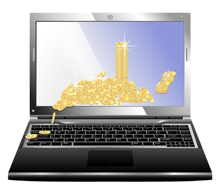 realistic vector laptop with money on the screen isolated isolated on white Vector