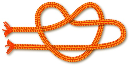 Orange rope in the shape of a heart  knot   Vector background for design