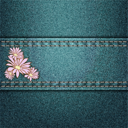 vector jeans background with floral applique Vector