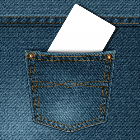 blue jeans: vector jeans pocket with a credit card or calling card Illustration
