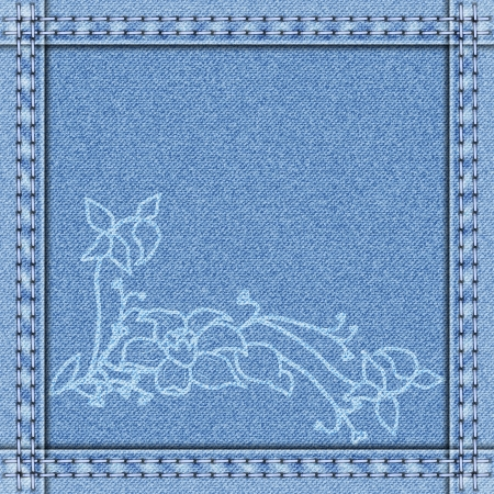 denim border with white delicate flowers Vector