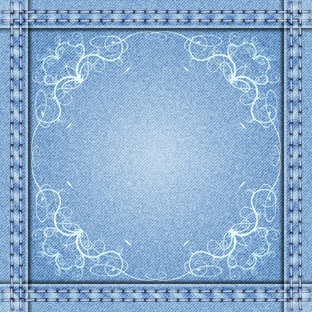 Vector denim frame with white delicate flowers Vector