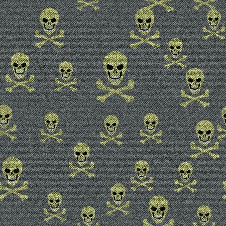 Vector denim seamless texture with skulls Stock Vector - 17969673