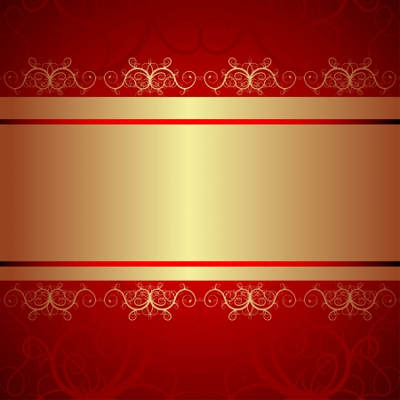ornate vintage background. Red and gold Stock Vector - 17969670