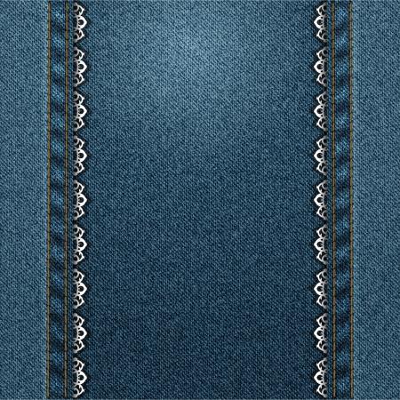 jeans pionowe ramki z naszytą koronką Ilustracje wektorowe