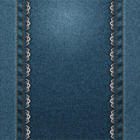 denim: pantalones vaqueros vertical de marco con encaje cosido Vectores