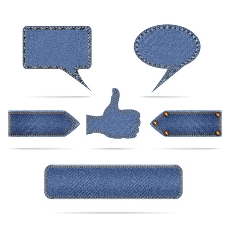set of modern denim icons Vector