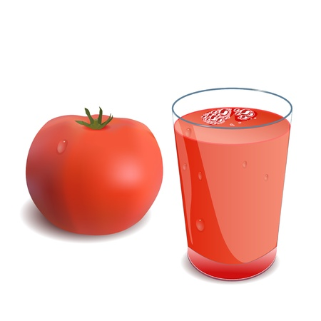 shaken: A glass of tomato juice or a cocktail and tomato Illustration