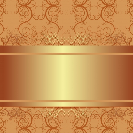 Vector ornate vintage background  Beige and gold Illustration