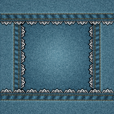 denim square border with stitched lace Vector