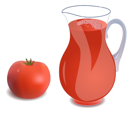 tomato juice: A jug of tomato juice or a cocktail and tomato.