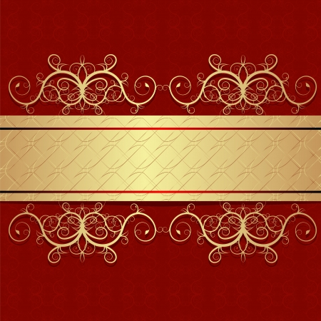 ornate vintage background. Red and gold Stock Vector - 18371187