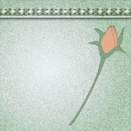 denim background with flower applique roses Vector