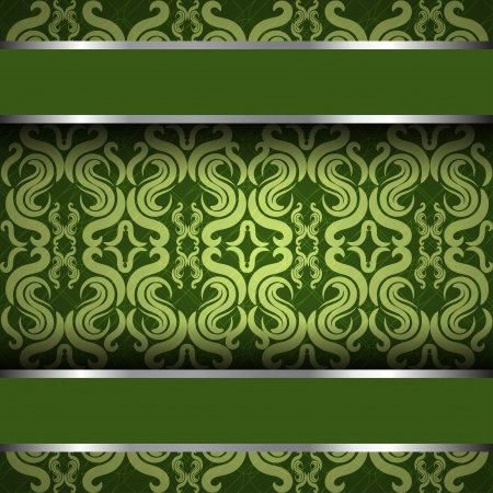 ornate vintage background. Green and silver Vector