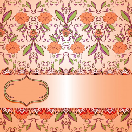 ornate vintage background. Pink with flowers. Vector