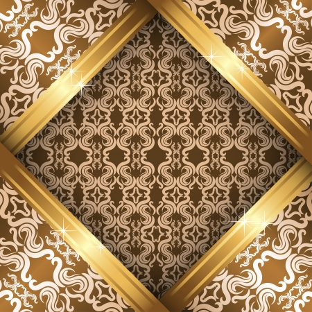 ornate vintage background. Beige, brown and gold Stock Vector - 18371188