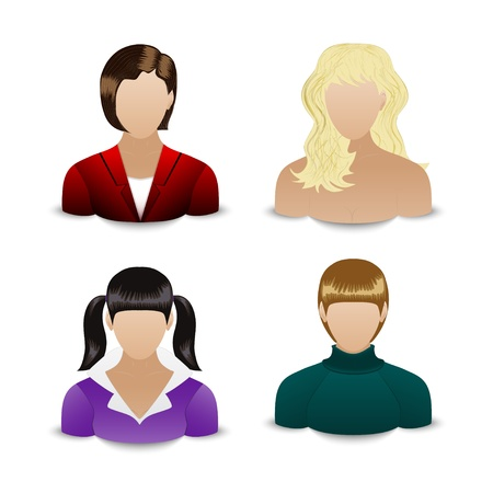 Vector set of four User Icon of different women Stock Vector - 18629782