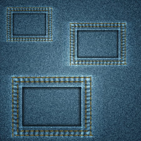Denim blue background with three square stitched elements  Vector illustration