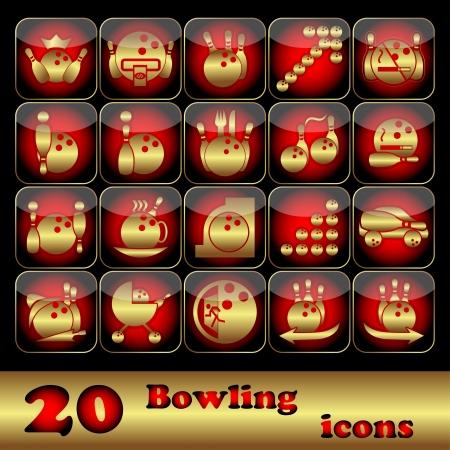 kleedkamer: De twintig vierkante pictogrammen op bowlen op een zwarte achtergrond Vector illustratie