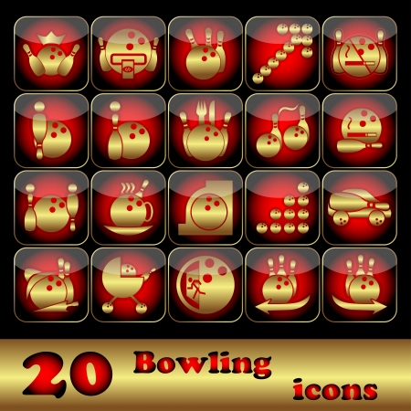 The twenty square icons on bowling on a black background  Vector illustration Vector