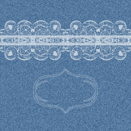 Denim background with white lace pattern and place for text  illustration Vector