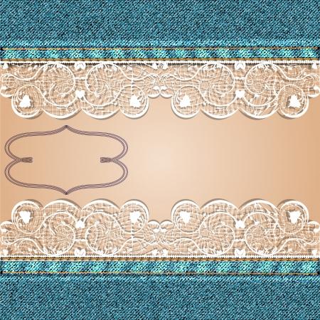 Denim achtergrond met witte kant en een lichaamsdeel illustratie Stock Illustratie