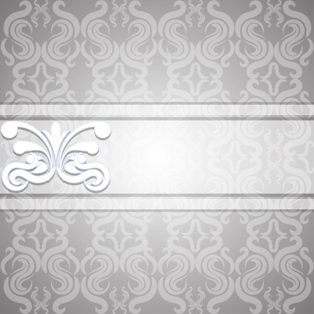 Victorian gray seamless background with a white ribbon  illustration Stock Vector - 18846368