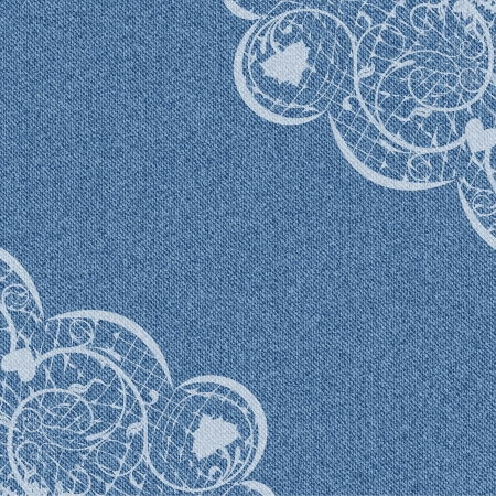 Denim background with white lace pattern on the corners  illustration Vector