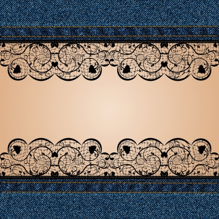 Denim background with black lace and a body part  illustration Vector